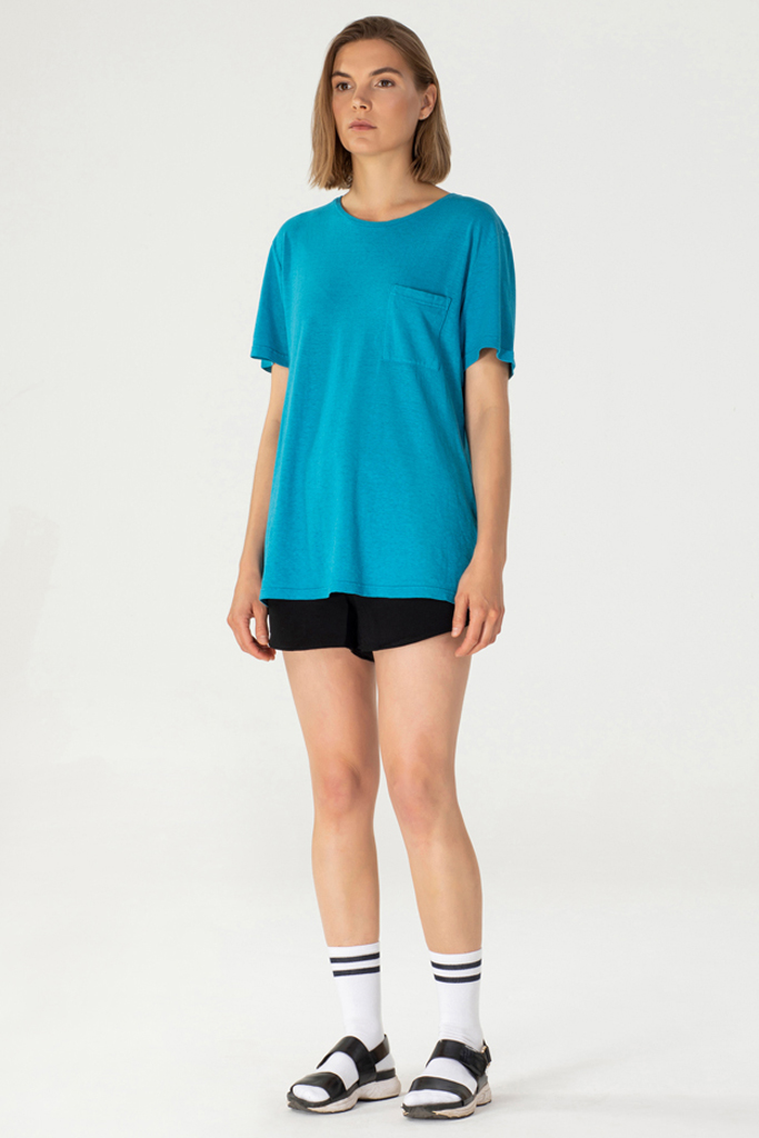Unisex Breast Pocket T - Hovito - Lucid Aqua